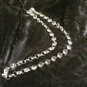 Glass Necklace with Metal Rings